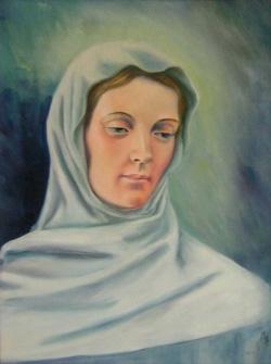 Peinture de Jeanne Le Ber par sœur Jacqueline Poirier, r.m.