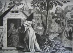Gravure Teroni Direx, 1886 Sainte Thaïs mise en réclusion par saint Paphnuce