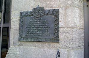 Plaque commémorative du lieu de naissance de Jeanne Le Ber